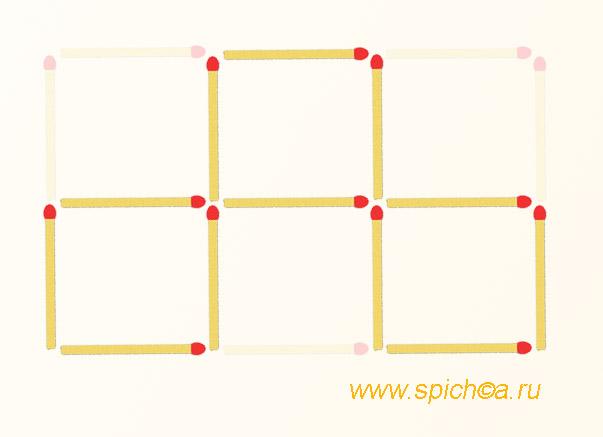 Оставьте 3 квадрата, убрав 5 спичек - ответ 2