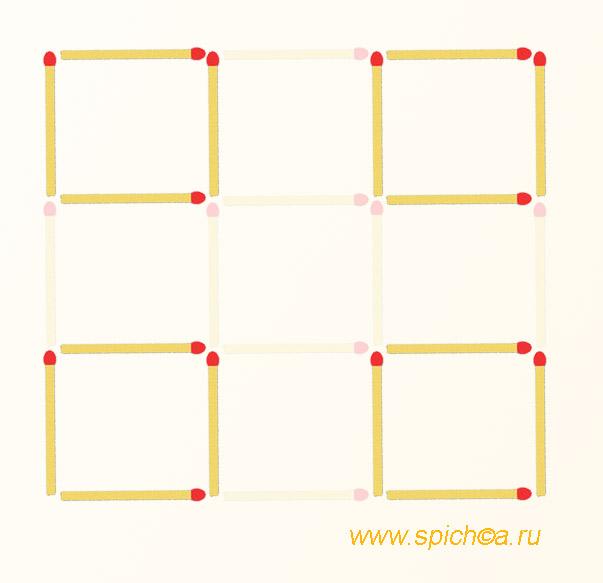 Из 9 квадратов 4 квадрата из спичек - ответ