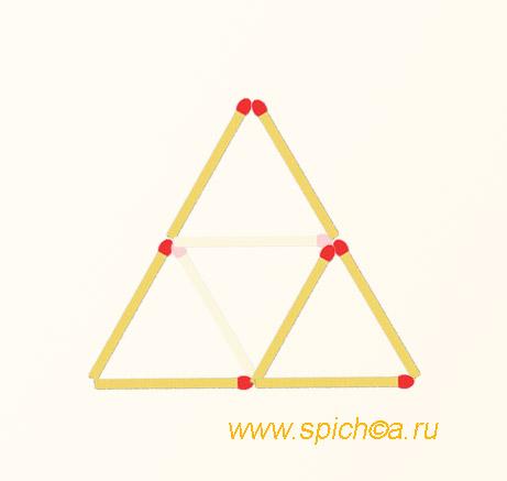 Из 4 спичечных треугольников два - решение