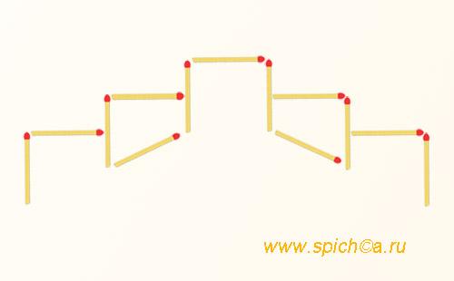 Из 13 спичек 4 квадрата