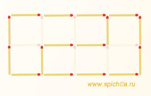 Из 8 квадратов два шестиугольника - решение 1