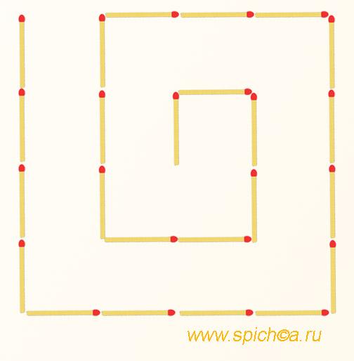 Из спичечной спирали 3 квадрата