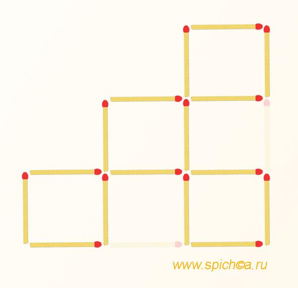 Из спичечной лесенки 4-ре квадрата - решение