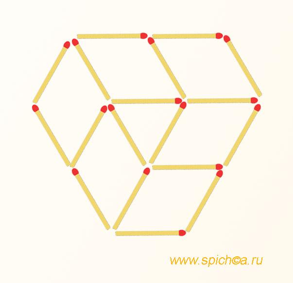 Из 18 спичек 1 треугольник и 6 четырехугольников - решение