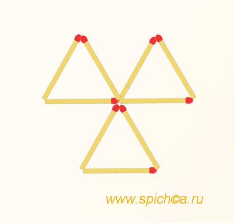 Из 3 треугольников три четырехугольника