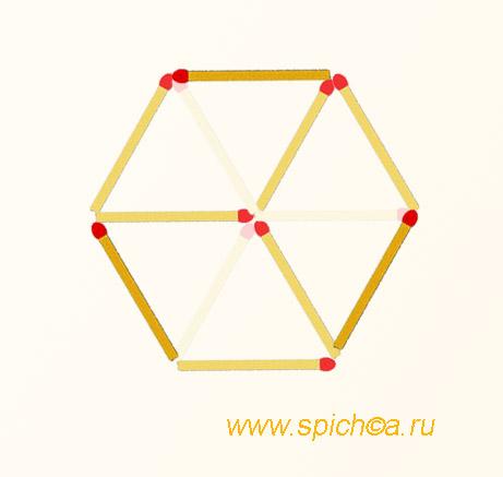 Из 3 треугольников три четырехугольника - решение