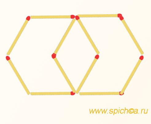 Из 12 спичек 2 шестиугольника и 1 четырехугольник - решение 1