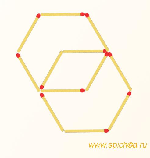 Из 12 спичек 2 шестиугольника и 1 четырехугольник - решение 2