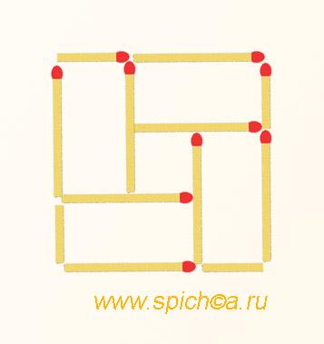 Из 10 спичек 4 прямоугольника и квадрат - решение