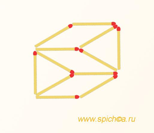 Из 12 спичек 3 четырехугольника и 2 треугольника - решение