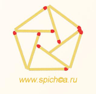 Из 10 спичек 2 пятиугольника - решение