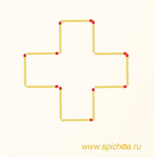 Из крестика три квадрата