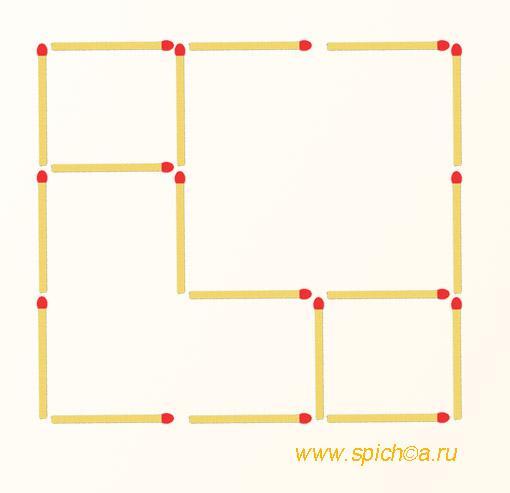 Переложить 2 спички - 3 квадрата
