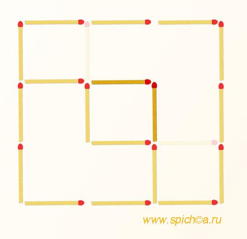 Переложить 2 спички - 3 квадрата - решение