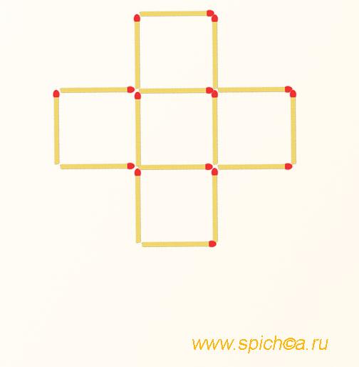 2 квадрата - переложить 7 спичек