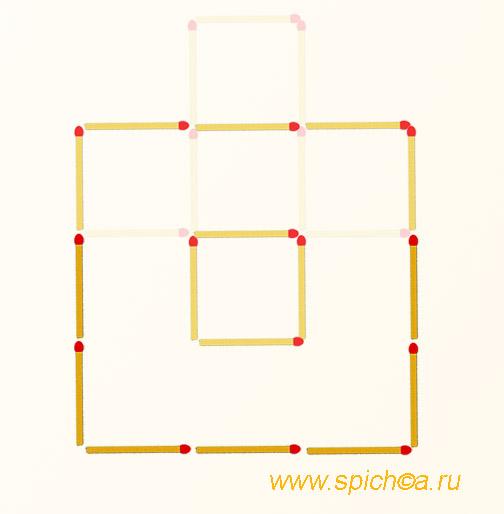 2 квадрата - переложить 7 спичек - решение