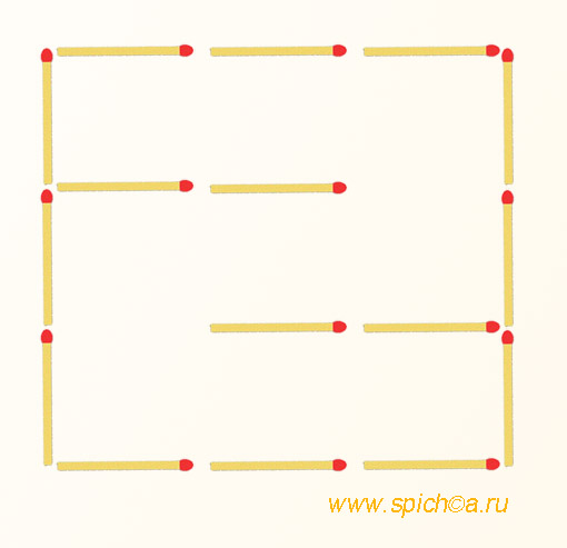 2 спички - 2 квадрата