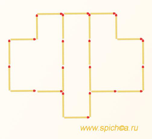 5 квадратов - переложить 4 спички