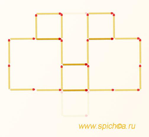 5 квадратов - переложить 4 спички - решение