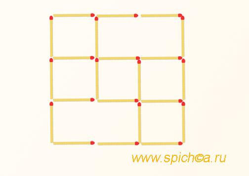 Переложить 2 спички - 7 квадратов