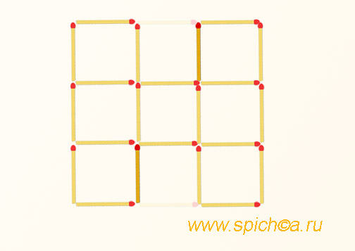 Переложить 2 спички - 7 квадратов - решение