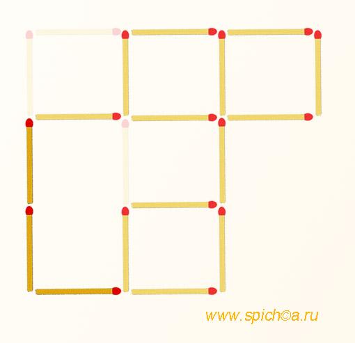 Переложить 3 спички - 4 квадрата - решение
