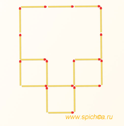 Переложить 3 спички - 2 квадрата