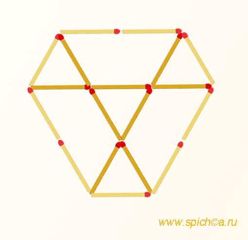 Добавить 9 спичек - 7 треугольников - решение