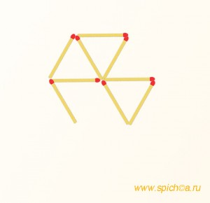Переложить 2 спички - 2 треугольника