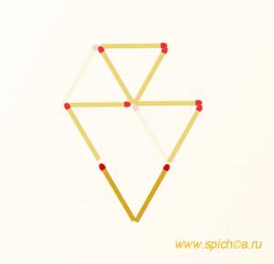 Переложить 2 спички - 2 треугольника - решение
