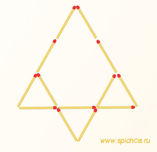 Из четырех треугольников три