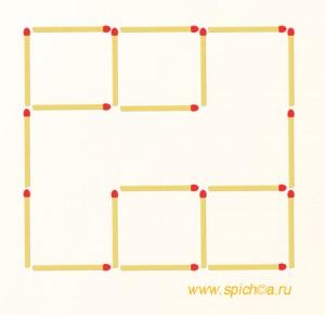 Переложить 2 спички - 6 квадратов