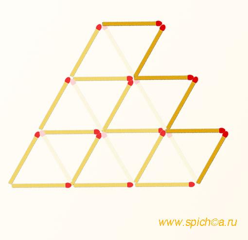Переложить 6 спичек - 6 ромбов - решение