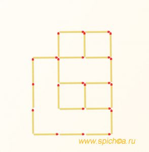 Подвинуть 3 спички - 4 квадрат
