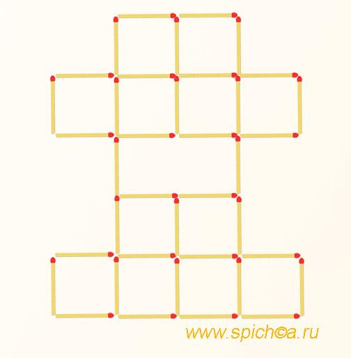 Убрать 6 спичек - 7 квадратов