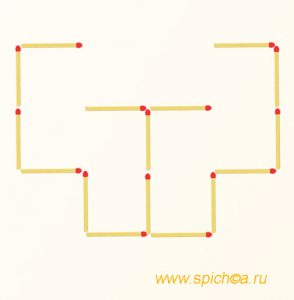 Передвинуть 5 спичек - 4 квадрата