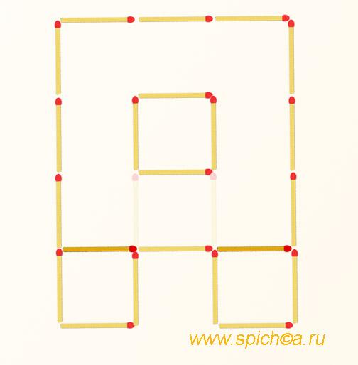 Переложить 2 спички - 4 квадрата - решение