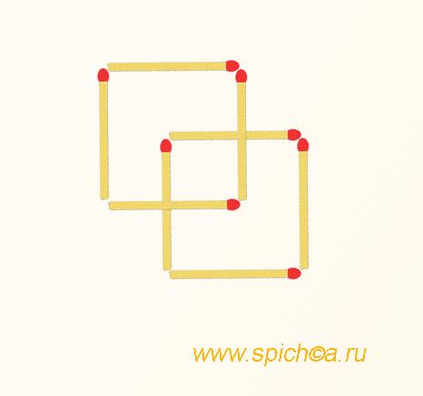 Из 8 спичек три квадрата - решение