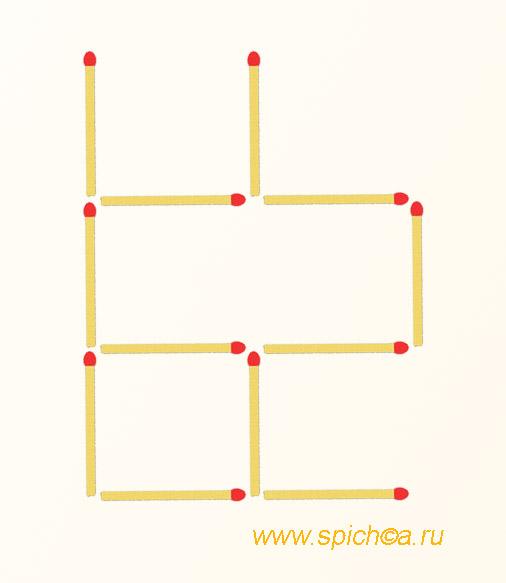 Переложить 2 спички - три квадрата