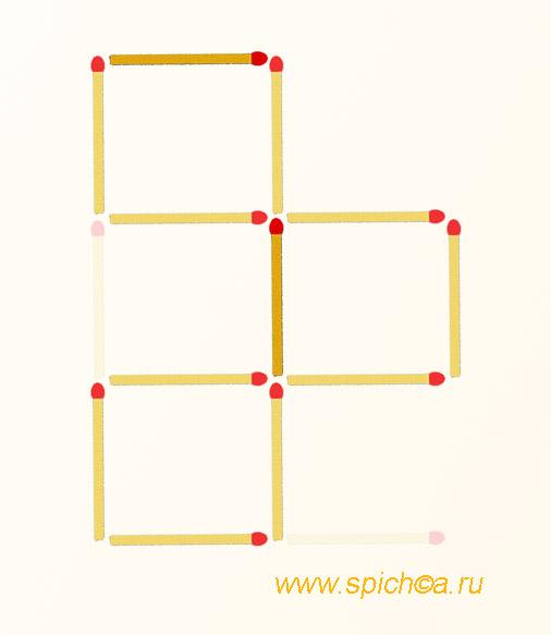 Переложить 2 спички - три квадрата - решение