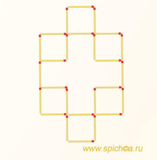 Переложить 6 спичек - три квадрата