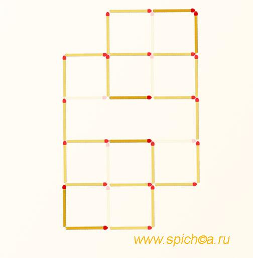 Переложить 6 спичек - три квадрата - решение
