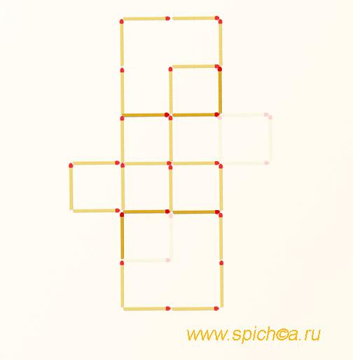 Переложить 6 спичек - 7 квадратов - решение