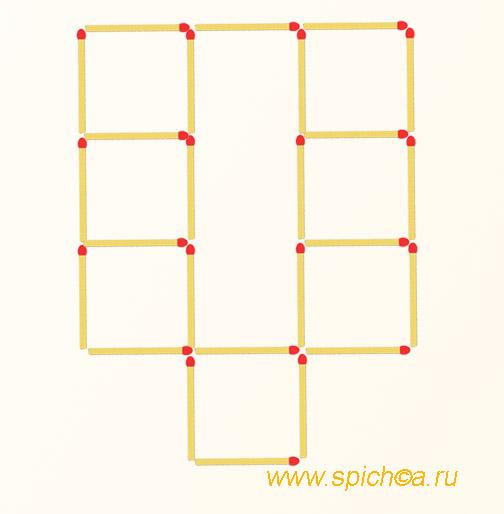 Переложить 2 спички - 8 одинаковых квадратов