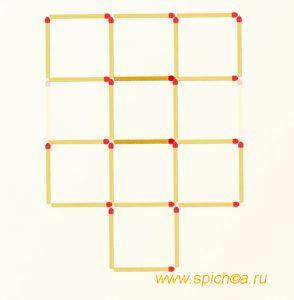 Переложить 2 спички - 8 одинаковых квадратов - решение