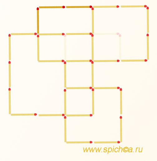 Переложить 3 спички - шесть квадратов - решение