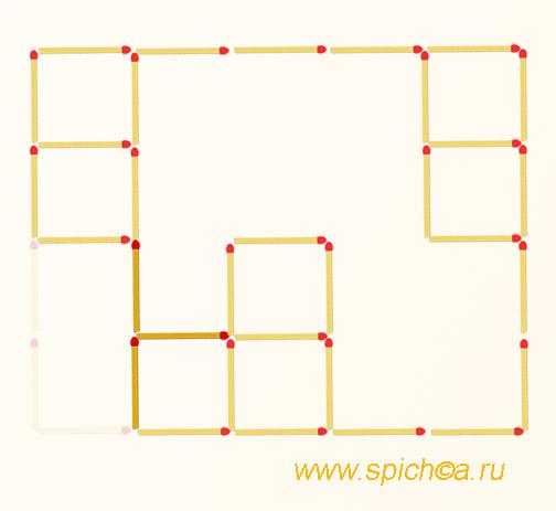 Переложить 3 спички - восемь квадратов - решение