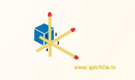 Из трех спичек 12 прямых углов - решение