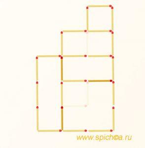 Переложите 3 спички - 4 квадрата - решение