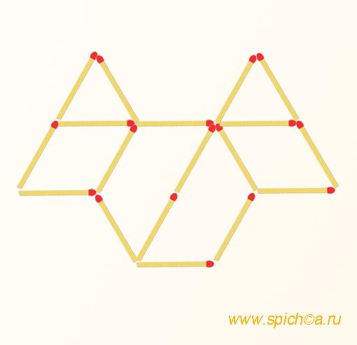Добавить 4 спички - 9 треугольников